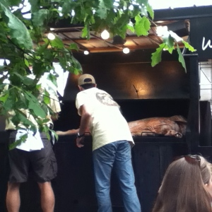 """Memphis whole-hog barbecue"" is just that — a whole hog in a cooker!"