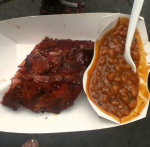 St. Louis-style ribs and baked beans — also yum! And very messy.