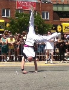 Cartwheeling baton twirlers!