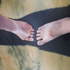 His and hers sandal tans