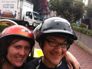 Driving down Lombard Street in our GoCar