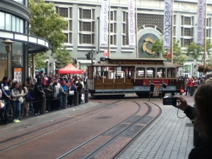 In line to get on a cable car