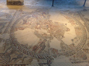 Mosaic floor from the 5th century depicting the zodiac wheel, in an ancient synagogue at Tzippori
