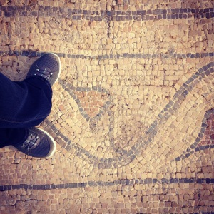 Standing on the actual ancient Roman mosaic road at Beit She'an