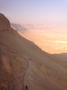 View from the cable car up to Masada