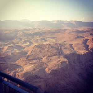 Looking down at a Roman encampment from Masada