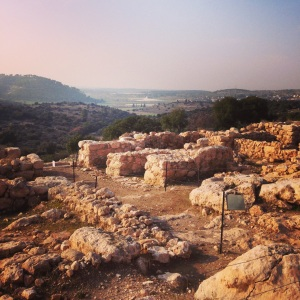 The view from Khirbet Qeiyafa, a recently discovered fortress overlooking the Valley of Elah, where David killed Goliath