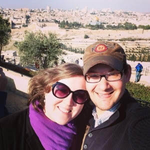 Looking toward Jerusalem (see the Dome of the Rock behind us?) from the Mount of Olives.