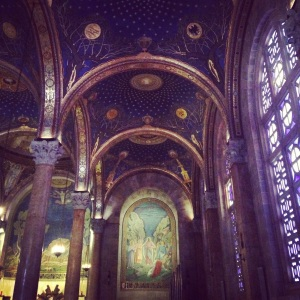 Inside the Church of All Nations at the base of the Mount of Olives.