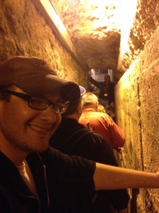 Justin in the excavated tunnels underneath the Western Wall.