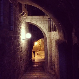 Walking through the Old City at night.