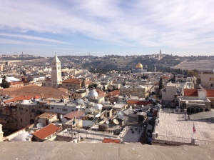 Looking out over Jerusalem's Old City from the Tower of David Museum, which is in an ancient Citadel.